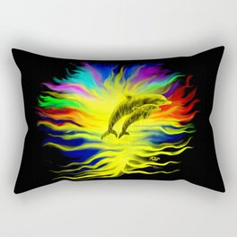 Dolphins in the Sunshine - Fantasy Rainbow-Art Rectangular Pillow