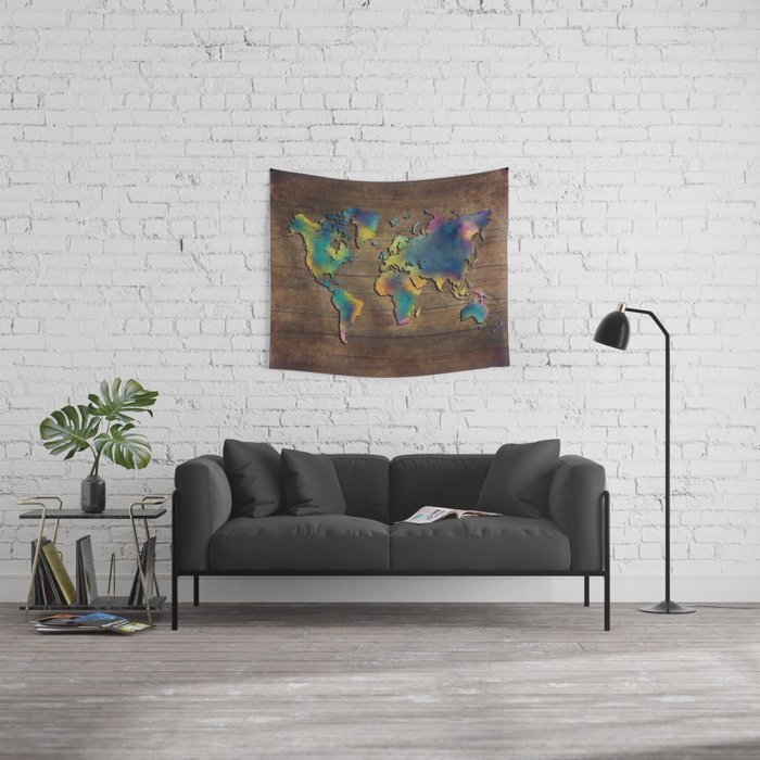 World Map wood Wall Tapestry