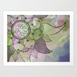 Mandala   Fluid Art   Boho   Gypsy Art Print