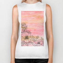 Wild Rose Illustration with watercolor background Biker Tank