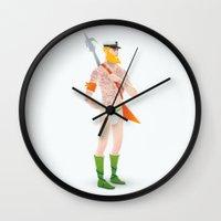 aquaman Wall Clocks featuring Rocker Aquaman by Andres Moncayo