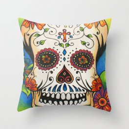 Day of the Dead Skull with Flowers Throw Pillow