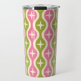 Mid century Modern Bulbous Star Pattern Pink and Green Travel Mug