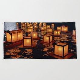 Japanese floating lantern Beach Towel