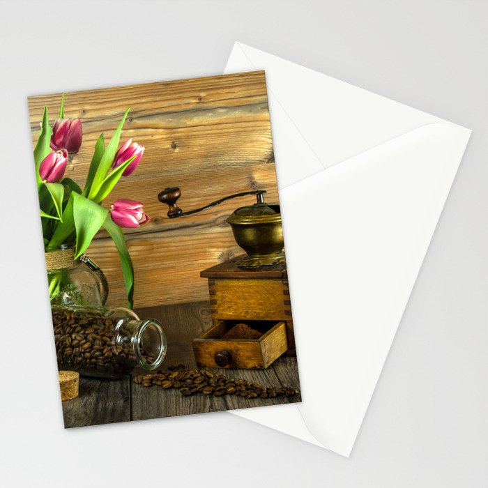 Coffee Grinder plus Jar of Beans and Tulips Stationery Cards