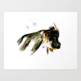 Black Moor, fish art, design cute black fish Art Print