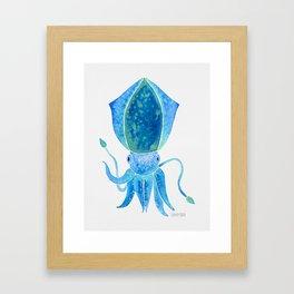 Cute Blue Squid Framed Art Print
