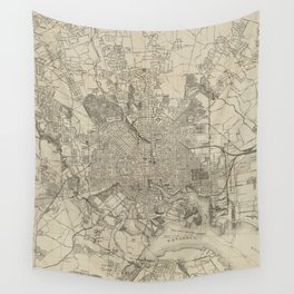 Vintage Map of Baltimore MD (1919) Wall Tapestry