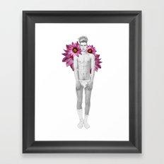 Boy & Flowers Framed Art Print