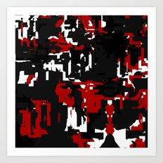 Black Red and White Glitch Art Print
