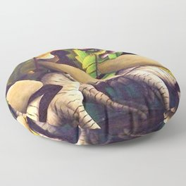 'Jungle Scene, African Hunters' by Orville Bulman Floor Pillow