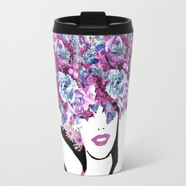 BEAUTIFUL GIRL WITH FLOWERS Travel Mug