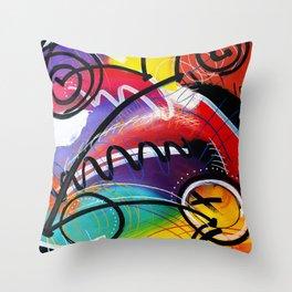 I Feel Fine - Whirly Swirls Splashy Aqua Turquoise Blue Red Yellow  Fine Art Abstract Painting Throw Pillow