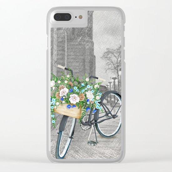 Black bike & street sketch Clear iPhone Case