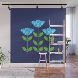 Three Japanese style blue flowers Wall Mural