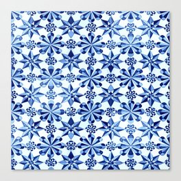 Frisia Blue White Dutch German Baltic Sea Pattern Canvas Print