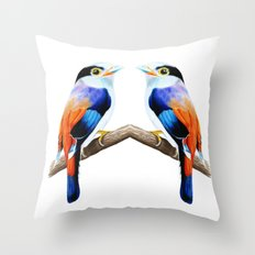 Silver Breasted Broadbill Throw Pillow