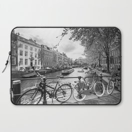 Bicycles parked on bridge over Amsterdam canal Laptop Sleeve