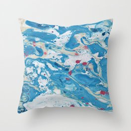 Marble art : Blue wind Throw Pillow