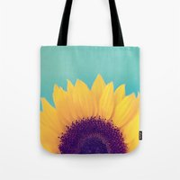 sunflower Tote Bags featuring Sunflower by Debbie Wibowo