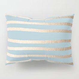 Abstract Drawn Stripes Gold Tropical Ocean Sea Blue Pillow Sham