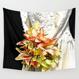 The bride had a orange lily bouquet Wall Tapestry