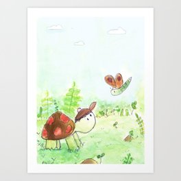 Turtle And Butterfly Friendship Art Print