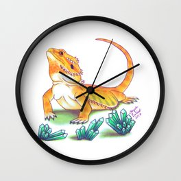 Bearded Dragon - Turquoise Crystals Wall Clock
