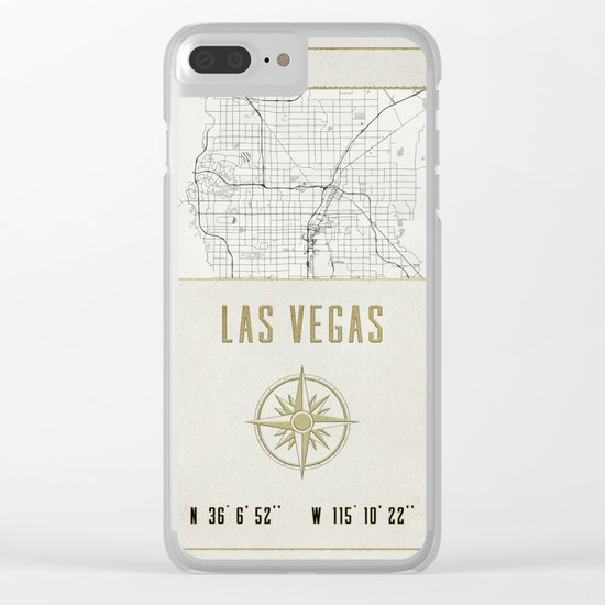 Las Vegas Nevada - Vintage Map and Location Clear iPhone Case