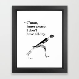 unny yoga print, original yoga art, unique yoga gift, black and white, modern, inner peace, drawing Framed Art Print