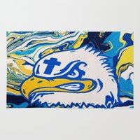 christian Area & Throw Rugs featuring Siouxland Christian Eagles by Jordan Luckow