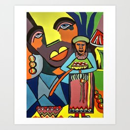 African Traditional Tribal Women Abstract Art Canvas Painting Series - 6 Art Print