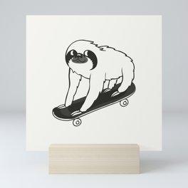 Skateboarding Sloth Mini Art Print