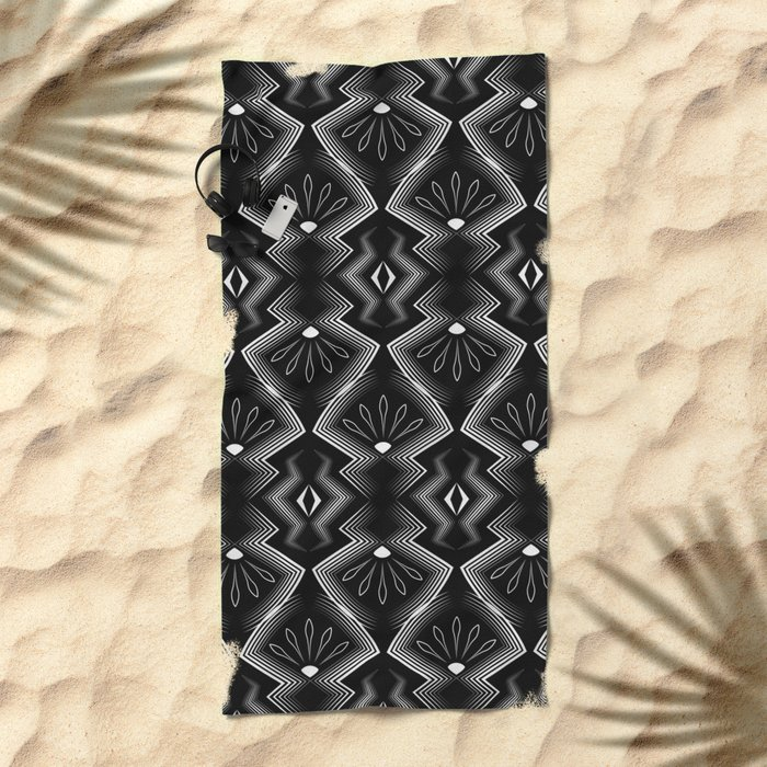 """Art Deco . Black and white pattern .""""Constance """". Beach Towel"""