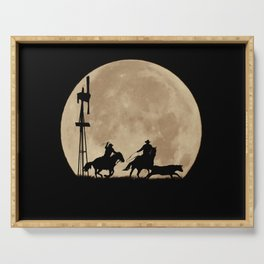 Rustler's Moon, Cowboys Roping Country Western Moon and Windmill Serving Tray