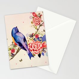 Gold Blue Bird Red Floral Butterfly Glitter Watercolor Stationery Cards