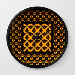 African Ethnic Pattern Black and Orange Wall Clock