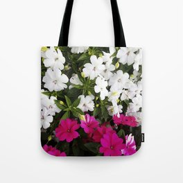Patient Impatiens - Deep Pink and Sparkling White Tote Bag