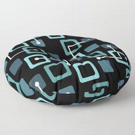 Midcentury 1950s Tiles & Squares Black Turquoise Floor Pillow