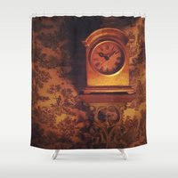 wall clock Shower Curtains featuring Clock by JesseRayus