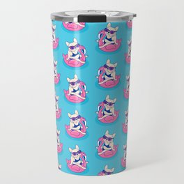 Frenchie enjoys Summer on Flamingo Pool Float in swimming pool Travel Mug