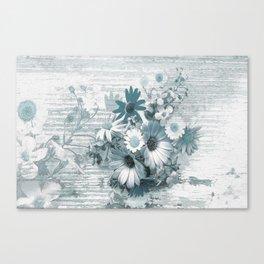 teal flowers on worn wood Canvas Print