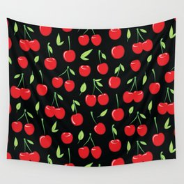 Cheerful cherry pattern. Colorful cherries on black Wall Tapestry