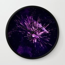 Fireworks purple Wall Clock