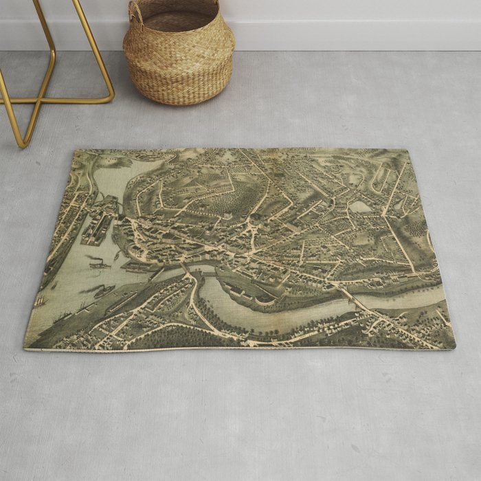 Vintage Pictorial Map Of Norwich Ct 1876 Rug By Bravuramedia
