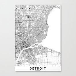 Detroit White Map Canvas Print