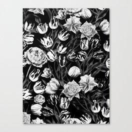 Black & White Floral pattern Canvas Print