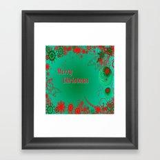 Merry Christmas in Green and Red Framed Art Print