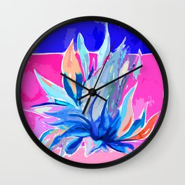 Agave From Toledo, Spain Abstract, Blue and Hot Pink Bright Wall Clock