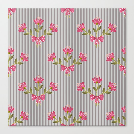 Flower bouquet on a gray striped background. Canvas Print